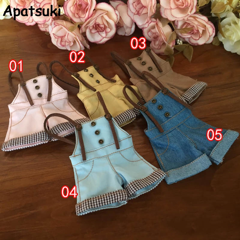 Fashion Clothes For Blythe Dolls Suspender Trousers or T-Shirt for Blyth 1:6 Jeans Casual Wear For Licca 1/6 Dolls Accessories