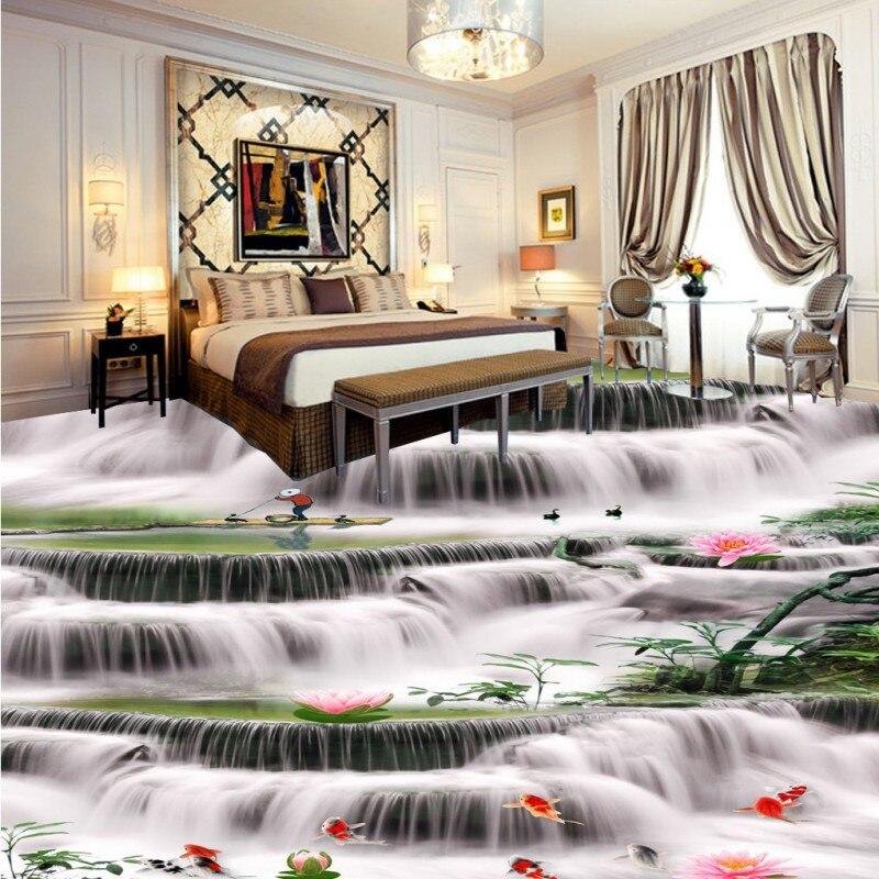 ФОТО Free Shipping Spectacular water scenery bathroom bedroom floor painting wallpaper self-adhesive wear floor mural