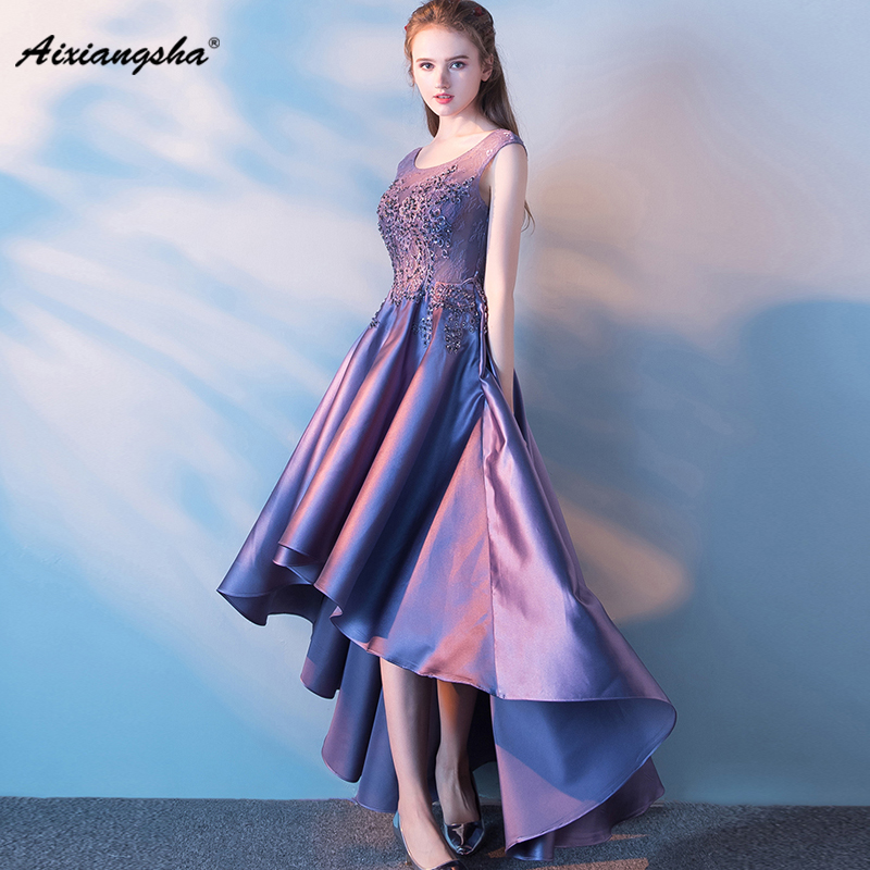 Blue Scoop Neck A Line Knee Length Customized New arrival Appliques Sleeveless Sequined Short Prom Dresses Elegant High and Low