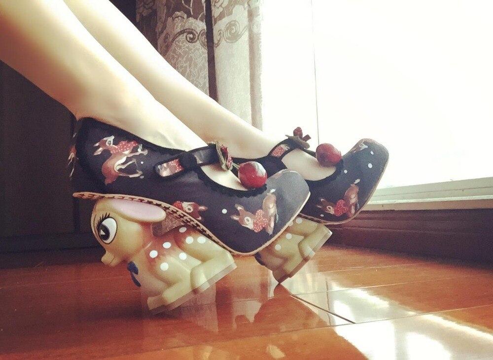 BJYL 2018 New cute fawn high heels buckle fashion special animal zodiac high heels modalu london mh6151 fawn