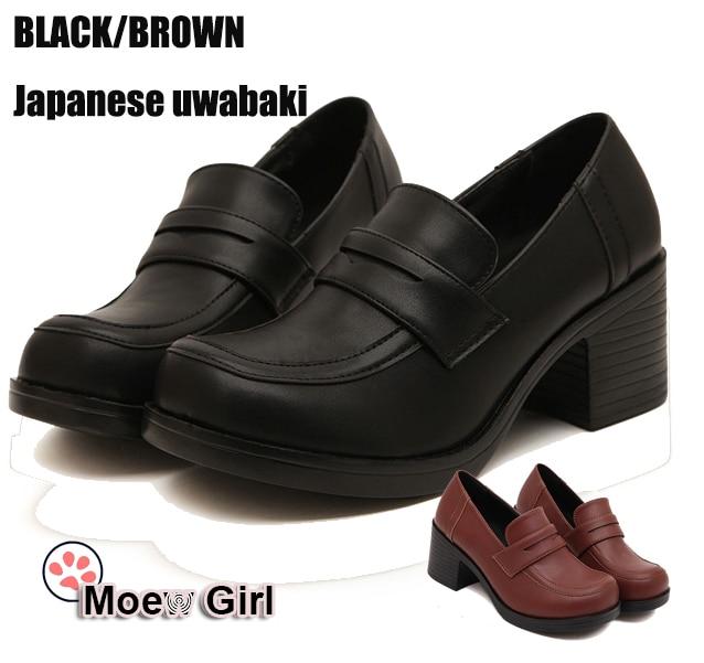38c7bf54933 Women s Japan Japanese School Student Uniform Shoes Uwabaki JK 6.5cm Heels  Round Toe Anime