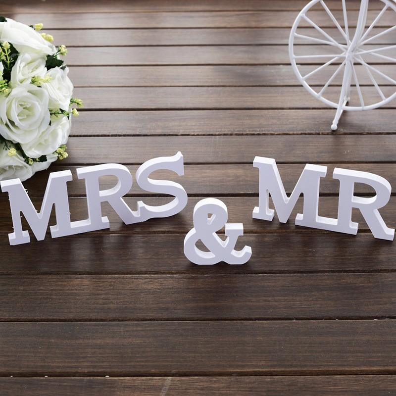 Принадлежности деревянные меблировки в английских букв свадьба знак Mr & Mrs свадьбу реквизит Милая Таблица Декор
