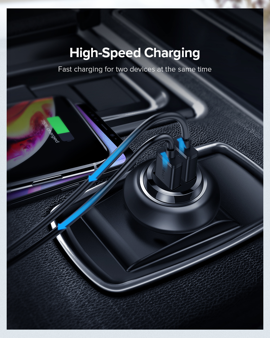 HTB1sr20XyDxK1RjSsphq6zHrpXaD - Ugreen USB Car Charger for Phone 4.8A Dual USB Fast Charger for iPhone X XS 8 Huawei Phone Mini Car-Charger Adapter USB Charger