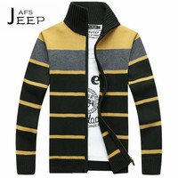 AFS JEEP Striped Winter Sweater For Man Zipper Fly Stand Collar Cotton Wool Motorcycle Ropa Exterior