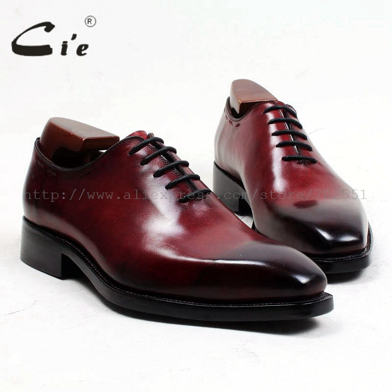 cie square toe patina wine whole cut full grain calf leather handmade men's shoe goodyear welted mens formal shoes leather ox497