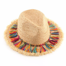 Модные богемные этнические пляжные шляпы, Женские соломенные шляпы с кисточками и большими полями