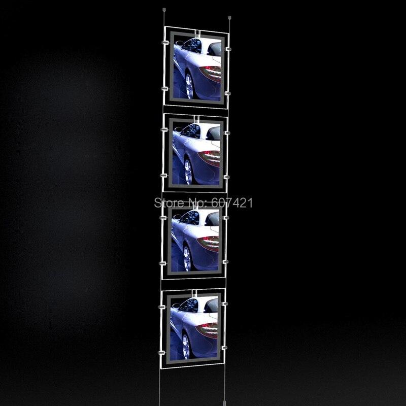 (4unit/column) A4 Single Side LED Light Pocket Window Display,Suspended Portrait LED Light Pocket Kits with U Pocket