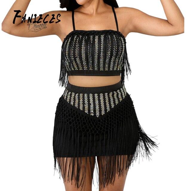 Gland sans bretelles 2019 mode été femmes Sexy Club deux pièces ensemble haut et mini jupe élégant Mini fête scène performance usure