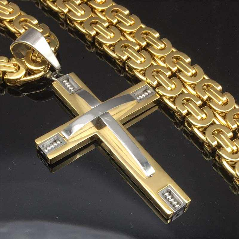 "316L 24"" Stainless Steel Byzantine Chain Knight Cross Necklace Male Christian Jewelry Gold-Color Crucifix Mens Necklace Pendant"