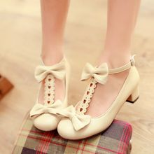 Anime cosplay shoes princess lolita comfortable thick kawaii girl bowknot women shoes loli cos kawaii girl sweet lolita shoes princess sweet lolita gothic lolita shoes lolita cos punk wedges increased women s shoes deep red 9101