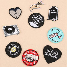 DOUBLEHEE Black White Red Theme Patch Embroidered Iron On Patches For Clothing Embroidery Design diy Phone Bag Accessories
