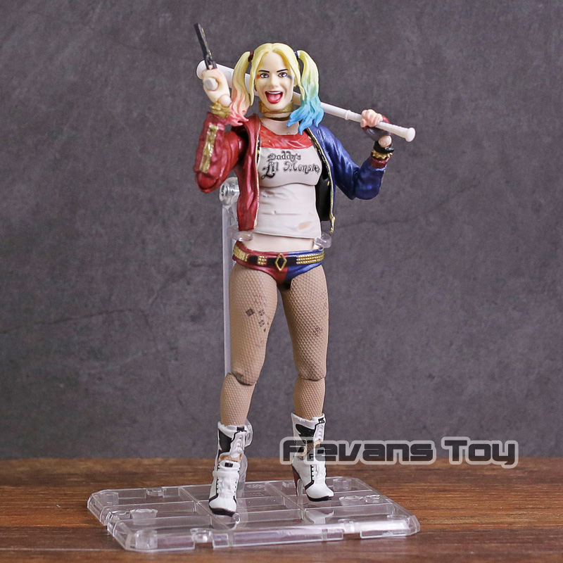 SHF SHFiguarts Suicide Squad Harley Quinn with Display Stand PVC Action Figure Collectible Model Toy suicide squad batman begins harley quinn figure arkham city with baseball bat and gun action figures model toy doll gift