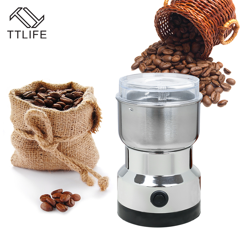 TTLIFE Electric Coffee Grinder Stainless Steel Chinese herbal 200W Household Semi-automatic Blade Extrusion Commercial Dry Mill