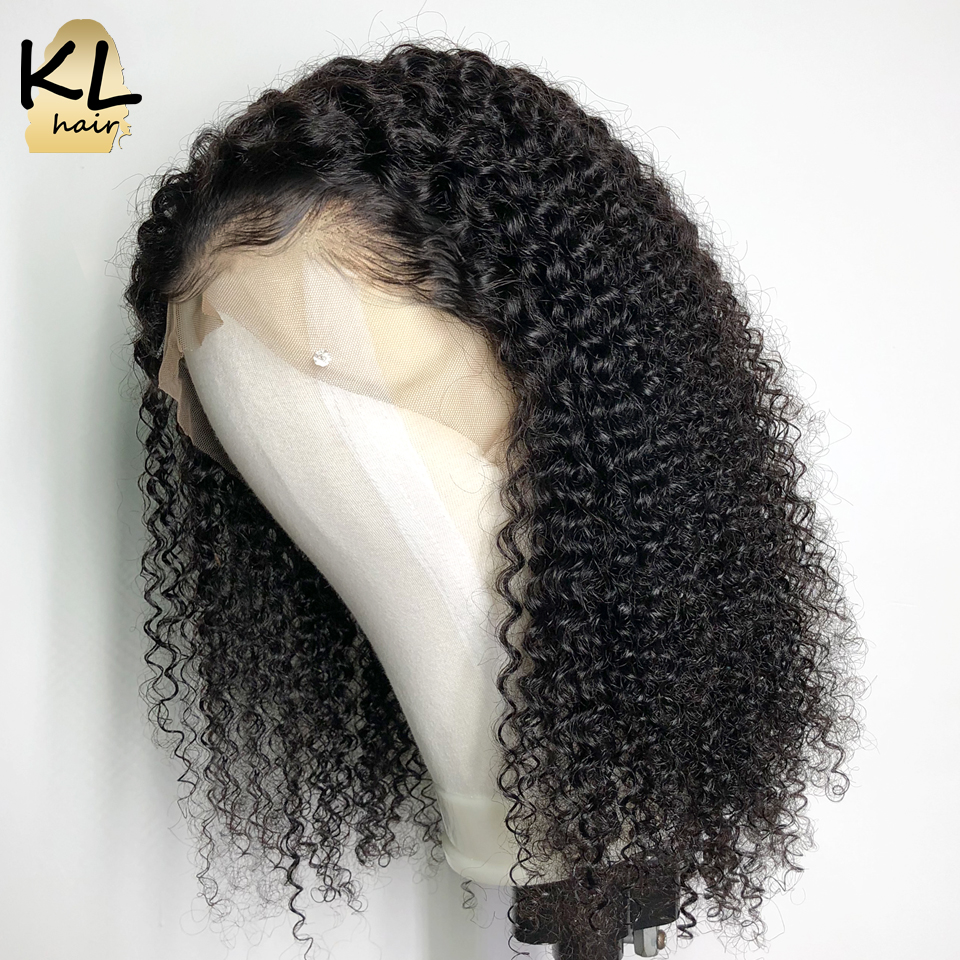 KL Kinky Curly Lace Front Human Hair Wigs For Black Women Pre Plucked Brazilian Remy Hair