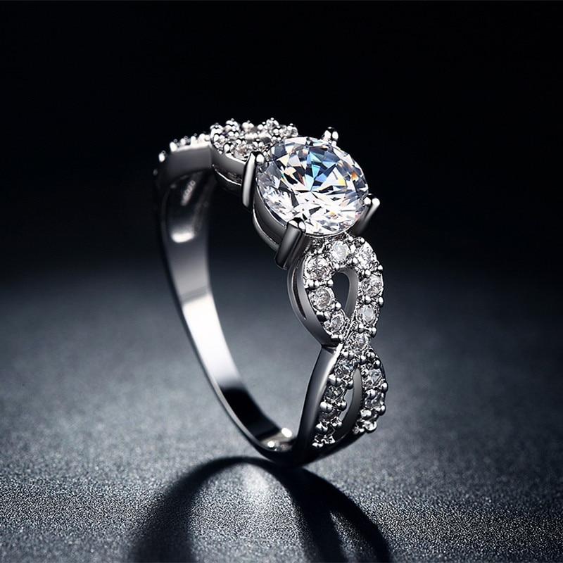 Modni vjenčani prstenovi za žene 585 Bijelo zlato u boji prepleteni - Modni nakit - Foto 5