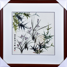 Suzhou embroidery finished product pure manual 4 silk fine orchid bamboo hanging painting