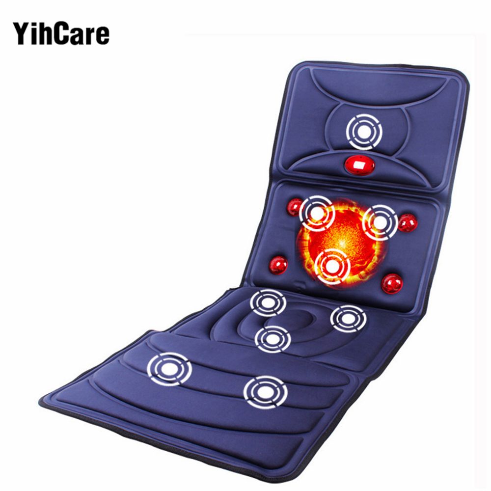 YihCare Far Infrared Electric Massage Mattress Heating Vibrating Full Body Neck Leg Massager Bed Cushion Chair
