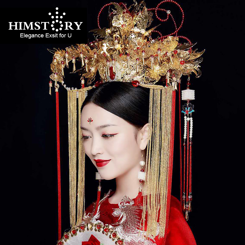 HIMSTORY Luxurious Chinese Vintage Oversize Hairwear Phoenix Coronet Long Tassel Chinese Retro Wind Wedding Hair Accessory цены онлайн