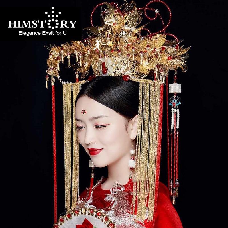 HIMSTORY Luxurious Chinese Vintage Oversize Hairwear Phoenix Coronet Long Tassel Chinese Retro Wind Wedding Hair Accessory все цены