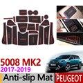 Для Peugeot 5008 MK2 2017 2018 2019 Противоскользящий резиновый коврик для чашки двери Groove Подушка 22 шт. аксессуары 5008 II 2 SUV 2nd Gen наклейки