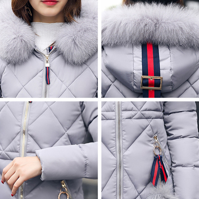 Big fur winter coat thickened parka women stitching slim long winter coat down cotton ladies down parka down jacket women 2018 4
