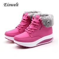 EISWELT Winter Vrouwelijke Plus Fluwelen Swing Schoenen Sneeuw Platform Laarzen Vrouwen Thermische Katoen gevoerde Schoenen Platte Enkellaarsjes # EHL18