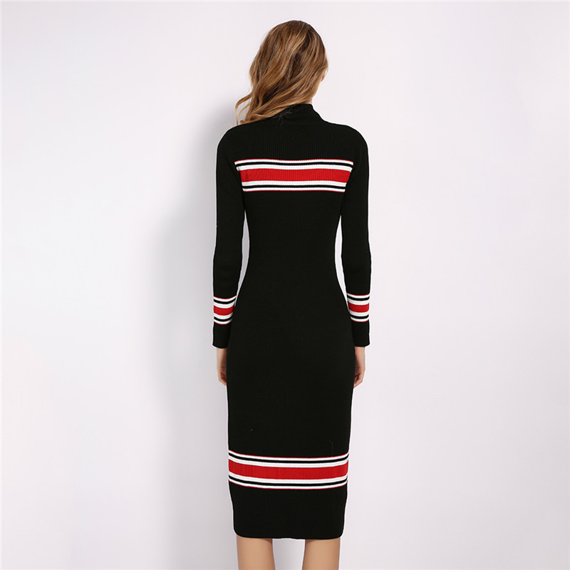 Black Stand Collar Striped Knitted Bodycon Dress