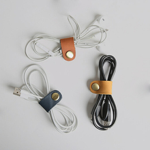 1PCS Headset Earphone Wire Portable USB Cable Cord leather Winder Headphone Case Korean Desk Manager