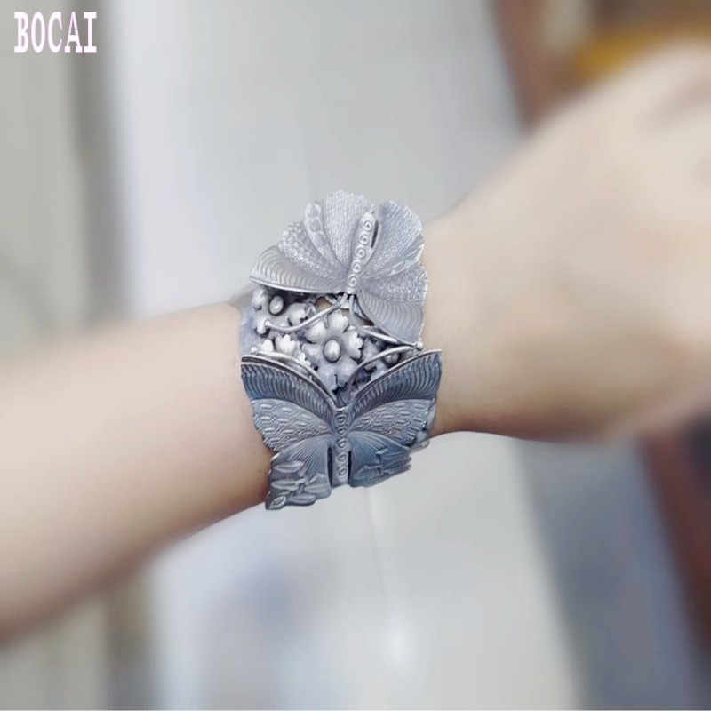 925 bijoux en argent fait à la main en argent sterling exagéré large face réglable papillon amour fleur femme bracelet en argent