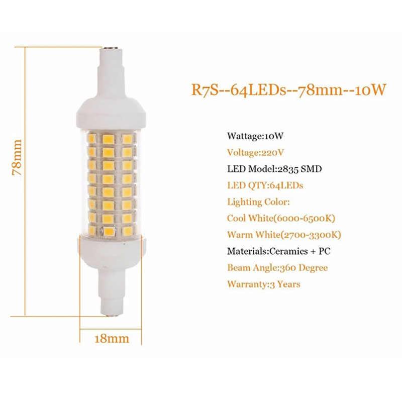 R7S J78 J118 J135 Lampu LED Dimmable Lampu Jagung 78 Mm 118 Mm 135 Mm 220 V 10 W 15 W 20 W Menggantikan Halogen 150 W 500 W Lampu Sorot Spot Light