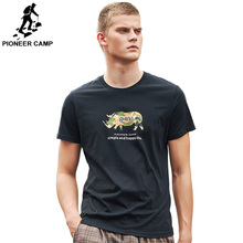 Pioneer Camp 100%Cotton Printed Rhinoceros Mens T Shirts Fashion Top Brand Clothing Short Sleeve Men Regular-fit ADT906160