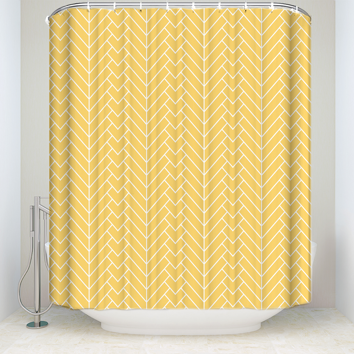 Us 16 97 45 Off New Arrival Waterproof Natural Herringbone Stripe Shower Curtain Polyester Fabric Yellow Bathroom Curtains For Home Decorations In