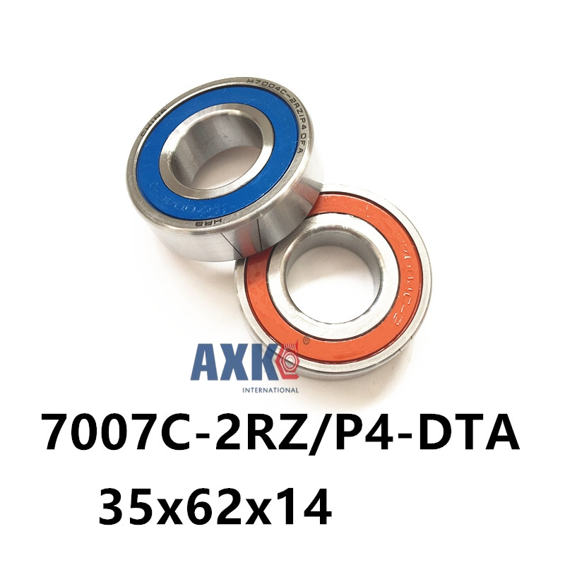 AXK  7007 7007C-2RZ/P4-DTA 35x62x14*2 Sealed Angular Contact Bearings Speed Spindle Bearings CNC ABEC 7 1pcs 71901 71901cd p4 7901 12x24x6 mochu thin walled miniature angular contact bearings speed spindle bearings cnc abec 7