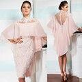 2016 Mãe Da Noiva Vestidos de Mangas Curtas Gola Alta Apliques Beading As Costas Abertas Mãe Vestidos Curtos Vestidos de Noite Rosa