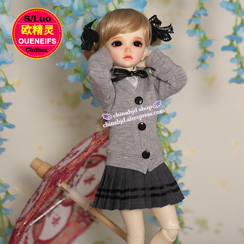 OUENEIFS free shippin, knitted grey coat, white shirt, elegant waist pleated skirt, sexy slim skirt,1/4 bjd sd doll clothes