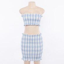 FREE SHIPPING !! Blue Plaid Summer Women Fashion Bodycon Sexy Female Set JKP938
