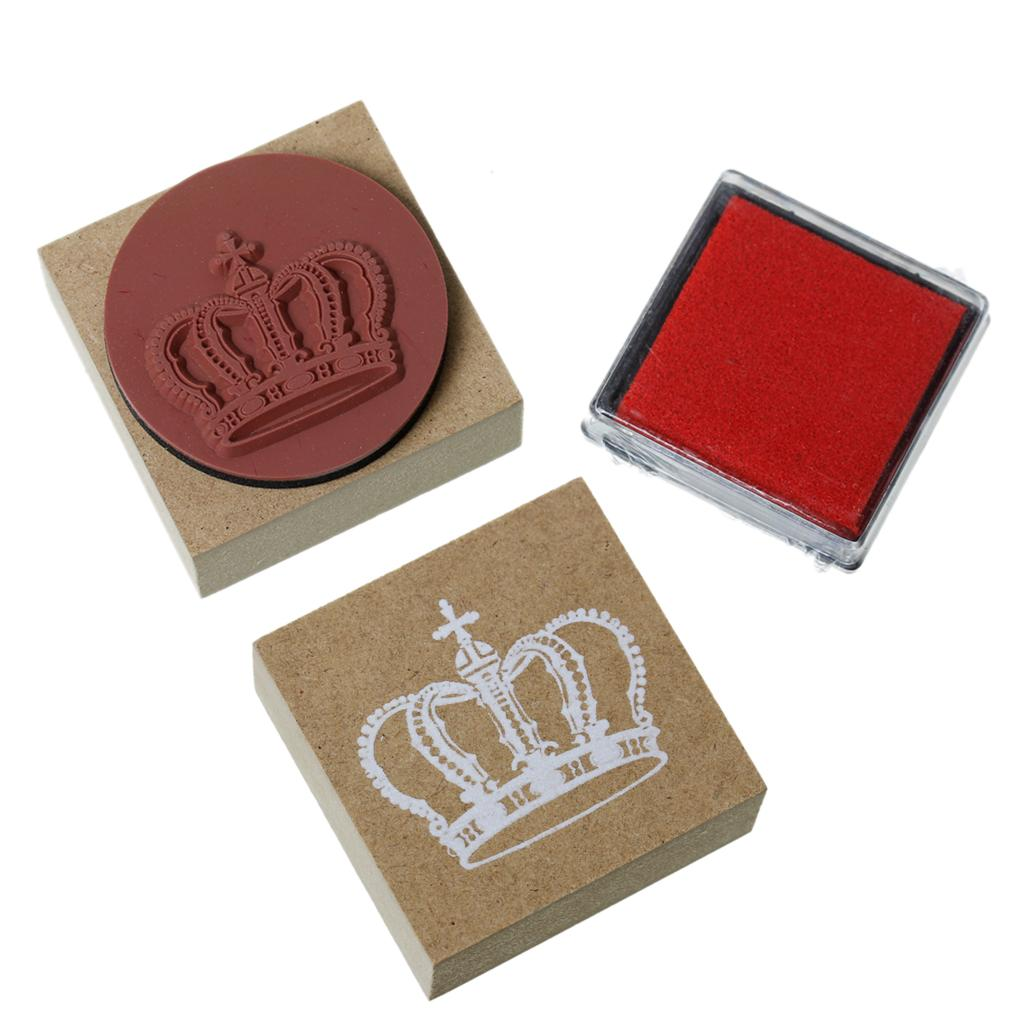 Wood seal stamper square natural crown pattern carved