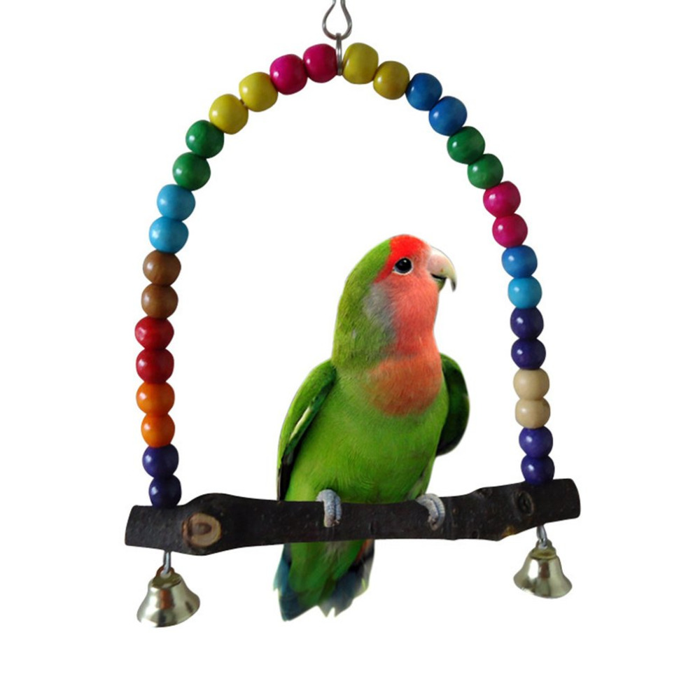 Pet Toy Parrots Bird Stand Bar Swivel Ladder Bite Chew Toy Swing Elevated Station Bird Supplies Middle And Small Size