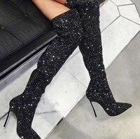 Moda de alta calidad de tacón alto muslo alta botas de cristal precio barato sexy Bling negro rhinestones reales foto