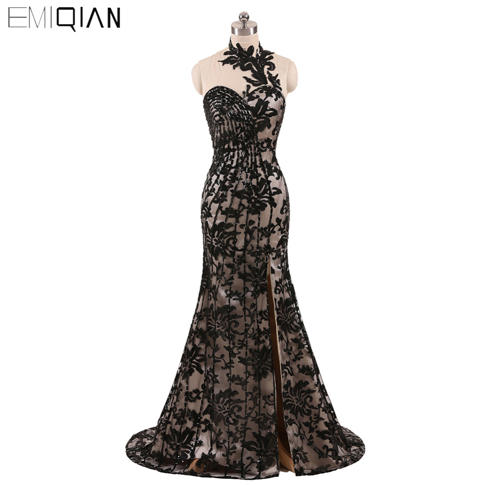 Freeshipping Bedövning O-Neck Black Lace Evening Dresses