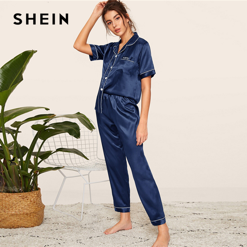 Image 3 - SHEIN Navy Letter Embroidered Satin Pajama Set Short Sleeve Long Pants Pajamas for Women Sleepwear Casual Ladies Pajama Sets-in Pajama Sets from Underwear & Sleepwears
