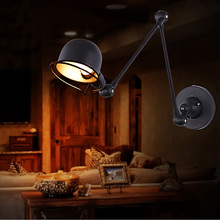 Retractable Wall Sconce Iron Wall Lamp Loft Vintage Telescopic Wall Sconces extend Arm Wall Light Swing Arm LED Light