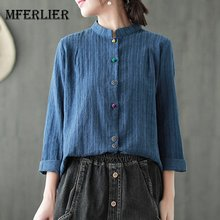 Mferlier Women Stand Collar Long Sleeve Panelled Colorful Buttons Cotton Linen Artsy