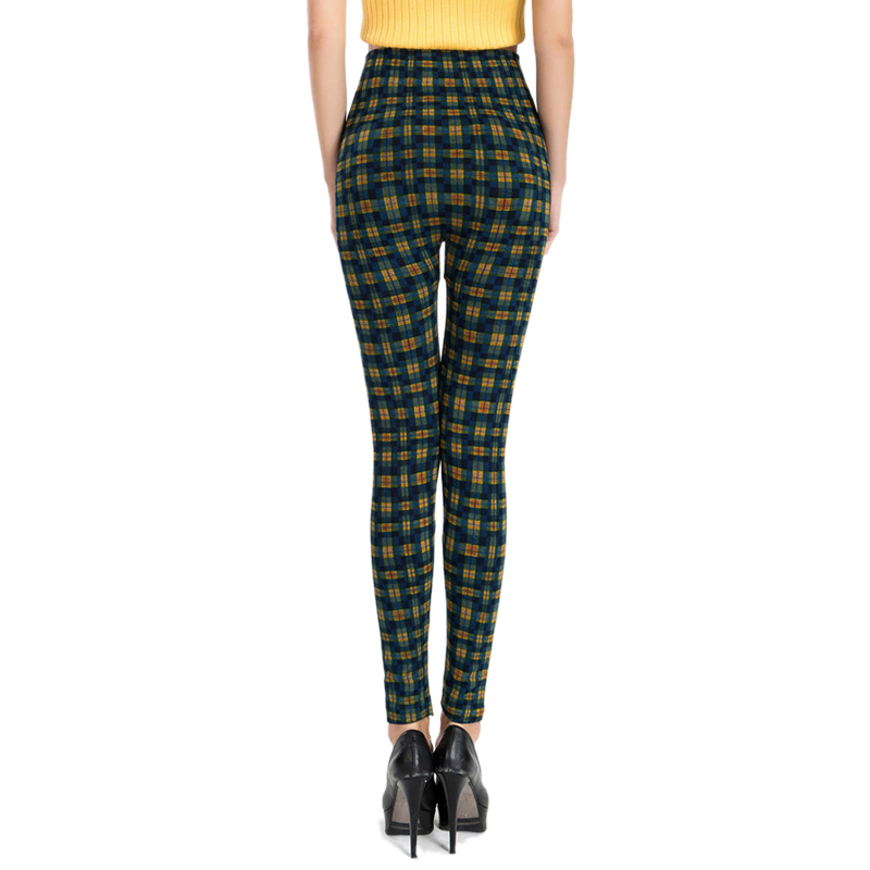 Fashion Sexy Slim Plaid Leggings for Women 2019 Big Size Office Lady High Waist Work Out Legging Fitness Legins Red Green Orange