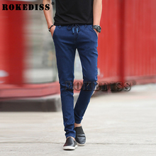 Pencil Mens Skinny Jeans Autumn Winter Elasticity Tights Blue And Black Le Jeans Fashion Pant casual Mens Jeans brand-clothing