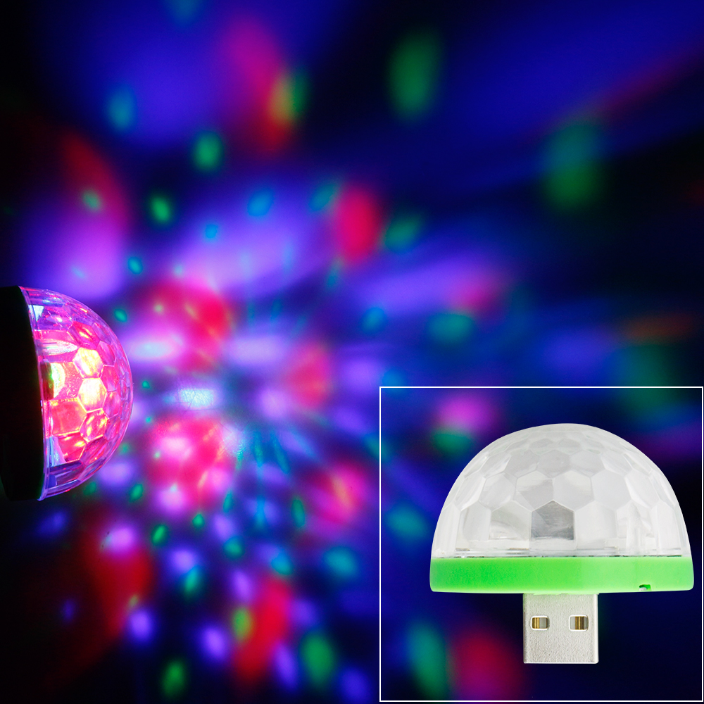 5V USB RGB LED Stage Light Novelty Lamp LED Crystal Magic Rotating Ball Stage Lamp Party Concert Home Entertainment Lighting
