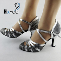 Latin Dance Shoes Salsa Shoes Women Ballroom Dancing Shoes Ladies Glitter Silver Comfort Customized Heels Popular