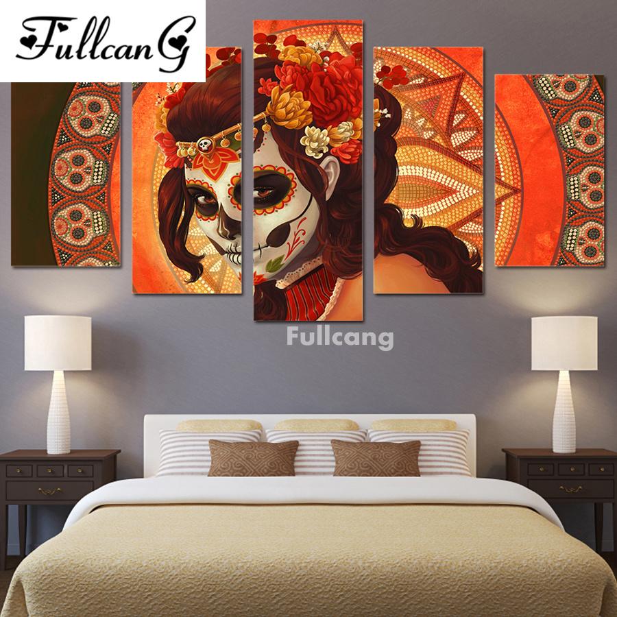 FULLCANG full diamond painting 5 pcs diy diamond embroidery day of the Dead Face square mosaic