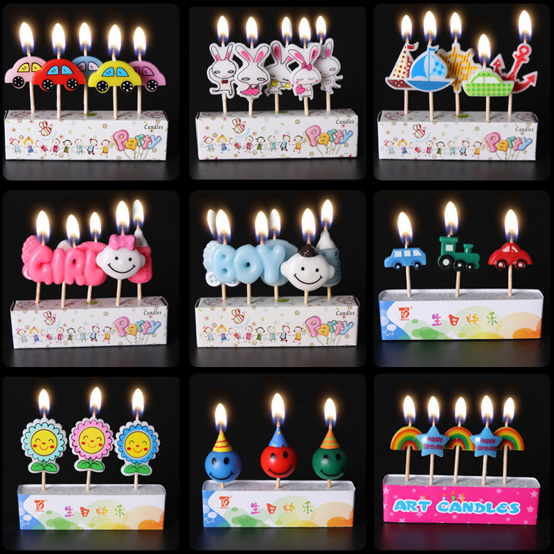 Happy Birthday MINI Party Candle Cartoon Color Art Cake Candles Western Baking Decoration For Sale SD936