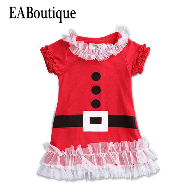 ec2504198 EABoutique 2017 New Fashion Kids girls christmas dress with lace ruffles  santa costume dress for 12M-5T